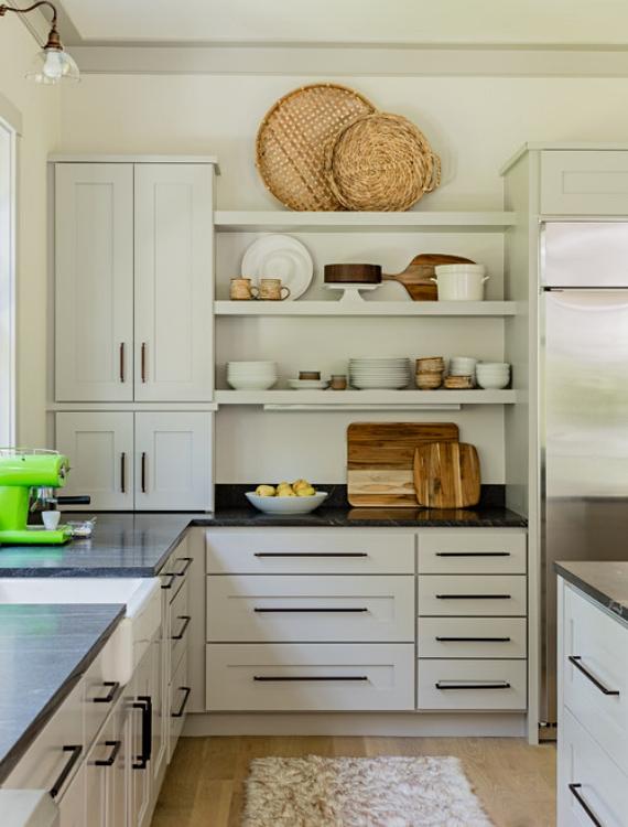Shaker style kitchen cabinets in a Massachusetts farmhouse