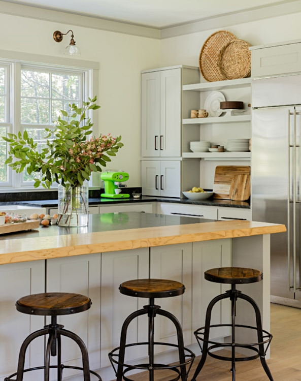 Boston Farmhouse Kitchen with Natural Light and Wood Tones