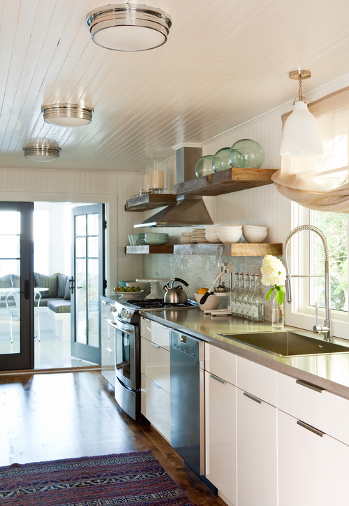 Galley Style Kitchen in a Lake Cottage in Canada