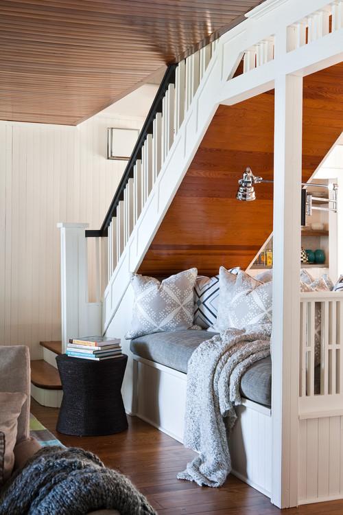 Under Stairway Built-In Loveseat