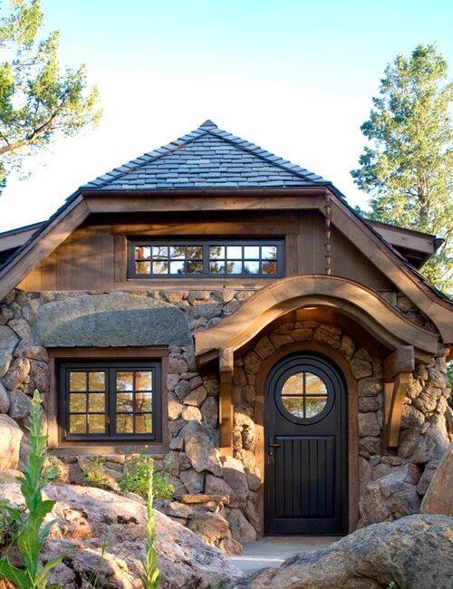 Small Stone Cottage Exterior in Colorado