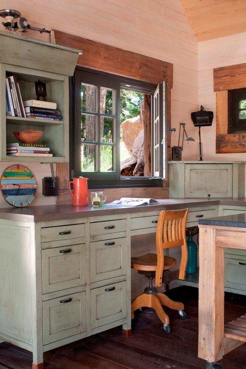Pale Green Rough Hewn Desk in Kitchen