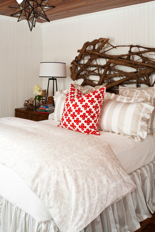 Twig Headboard in Cozy Cottage Bedroom