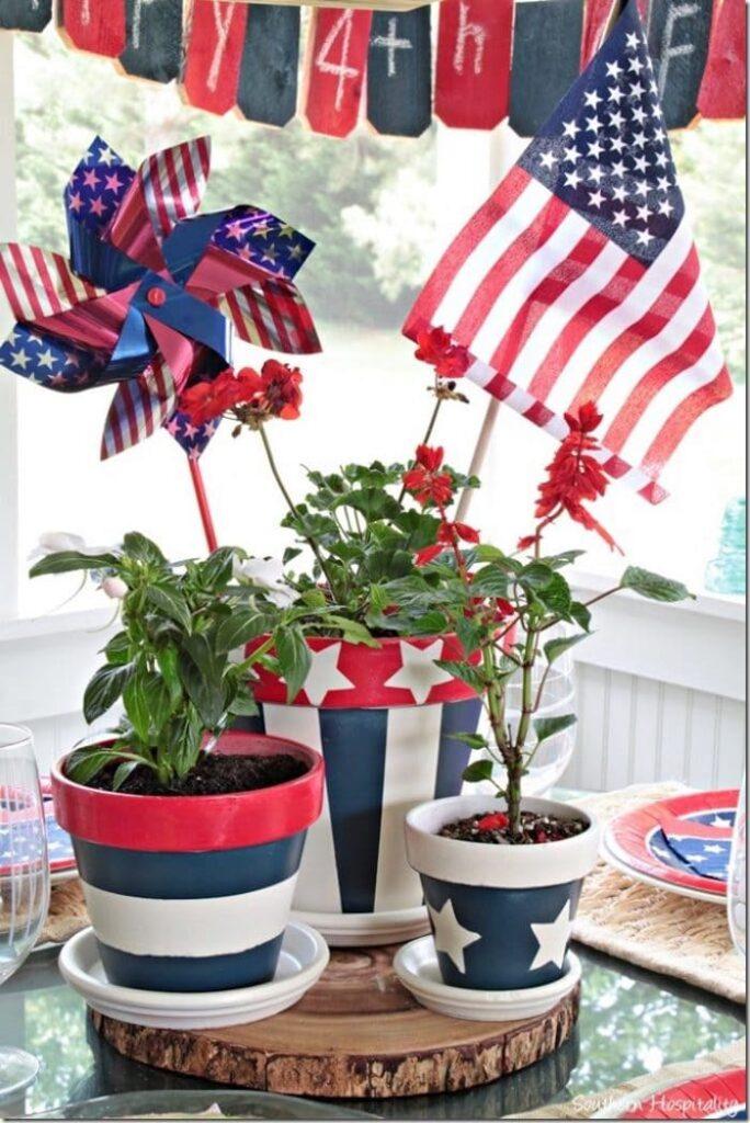 Patriotic Clay Pots - Southern Hospitality