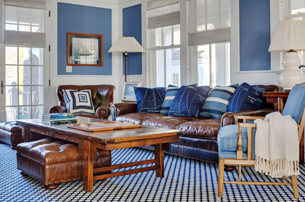 Leather Couch in Blue and White Living Room
