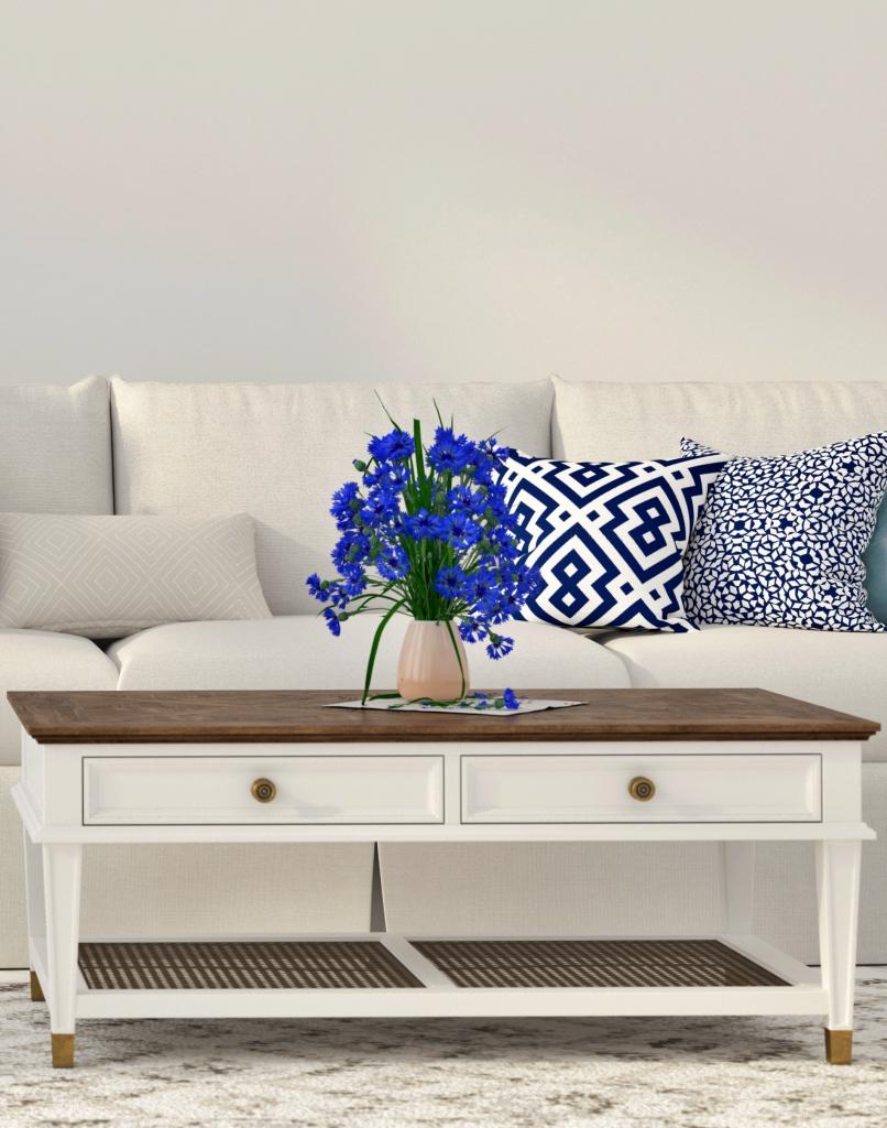 Blau-weißes minimalistisches Wohnzimmer