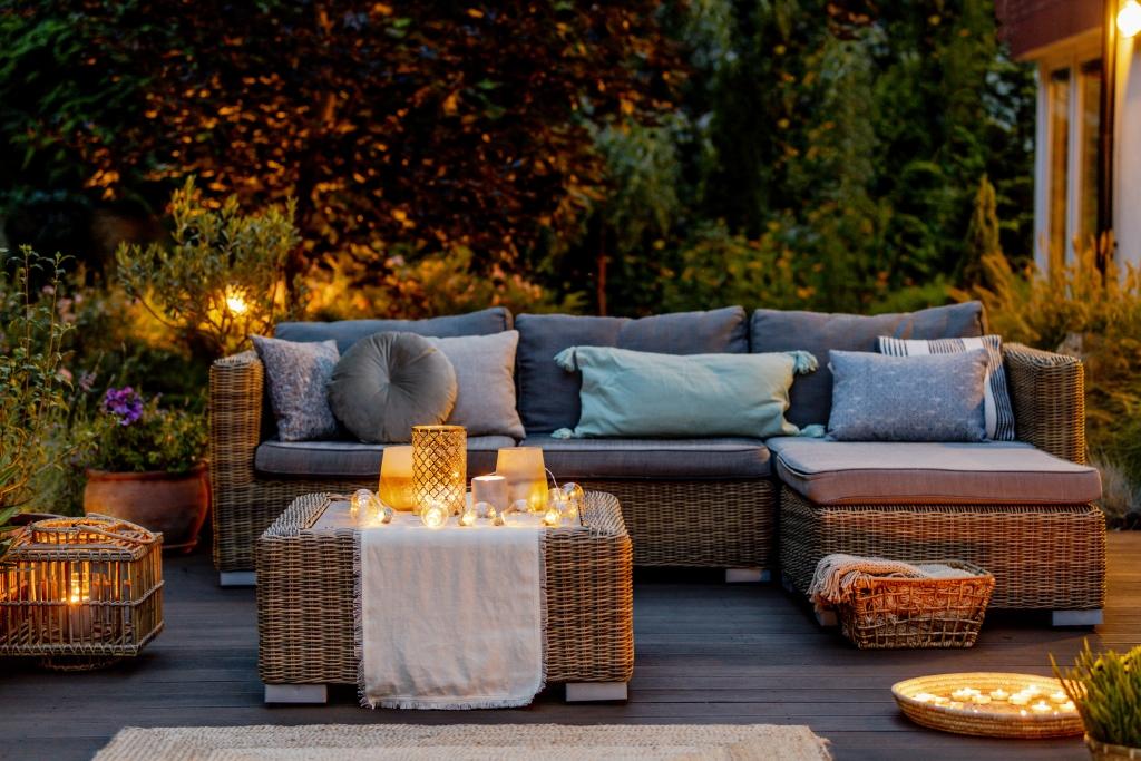 Cozy summer evening on an outdoor patio