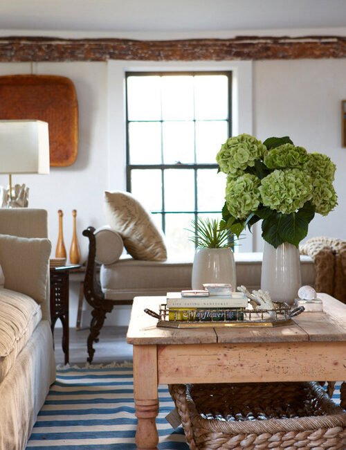 French Country Living Room with Wood and Linen