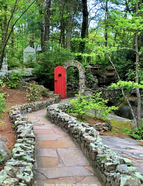 Garden Path with Red Arched Door