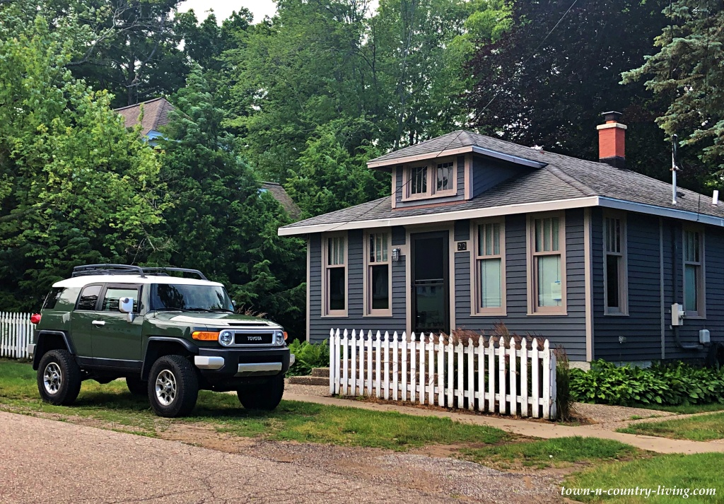 Gray Bungalow on Quiet Residential Street in New Buffalo, Michigan