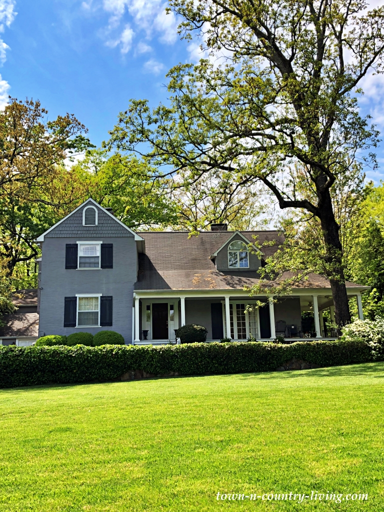 Large Gray House with Big Front Porch