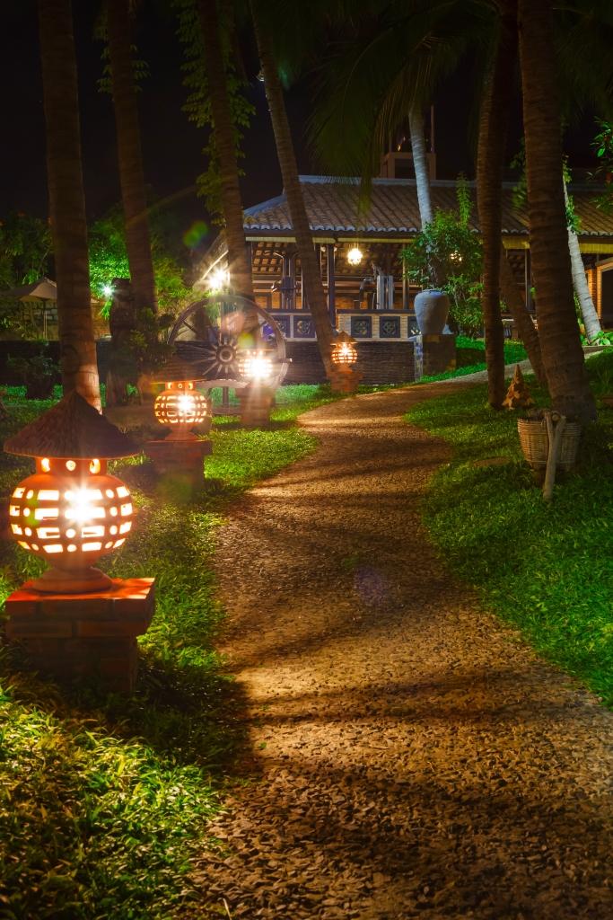 Japanese landscape lights at garden path