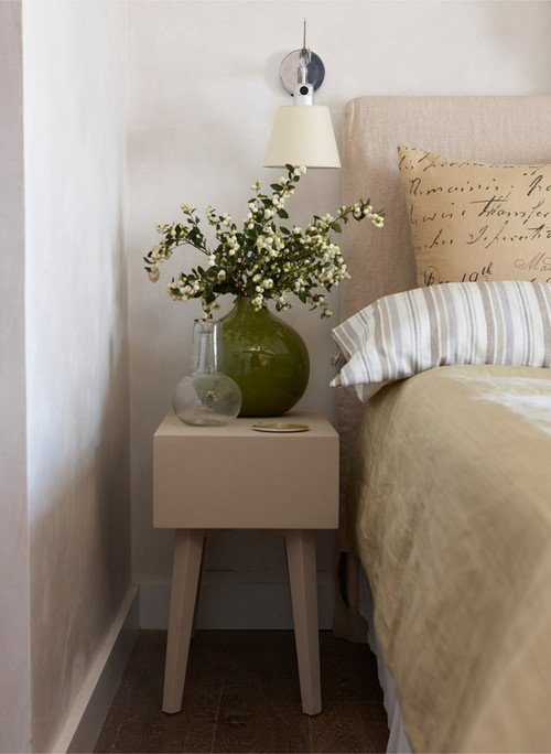 Linen Bedding and Script Pillows