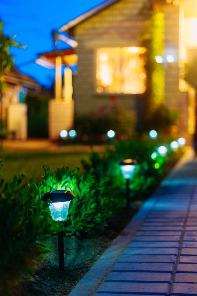 Small Solar Garden Light, Lanterns In Flower Bed. Garden Design.
