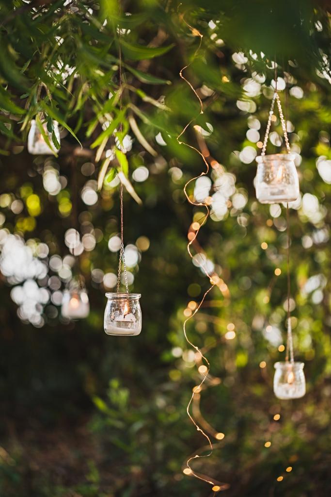 Lanterns in Trees on a Summer Night in a Garden