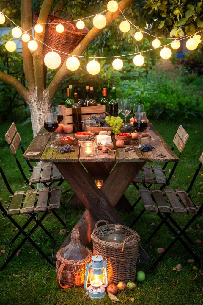 Summer Picnic at Night at Picnic Table
