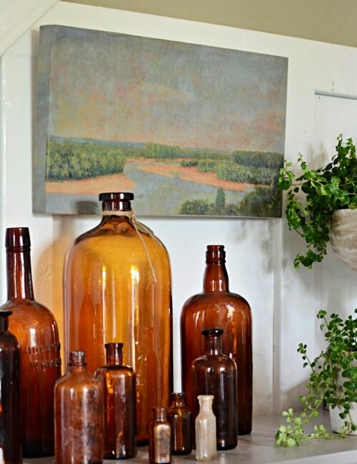 Earthy Summer Vignette with Landscape Painting