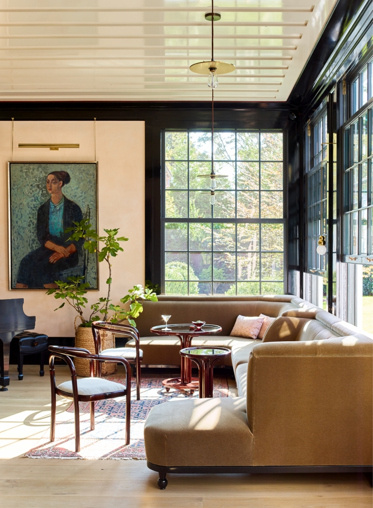 Large oil portrait in an historic living room