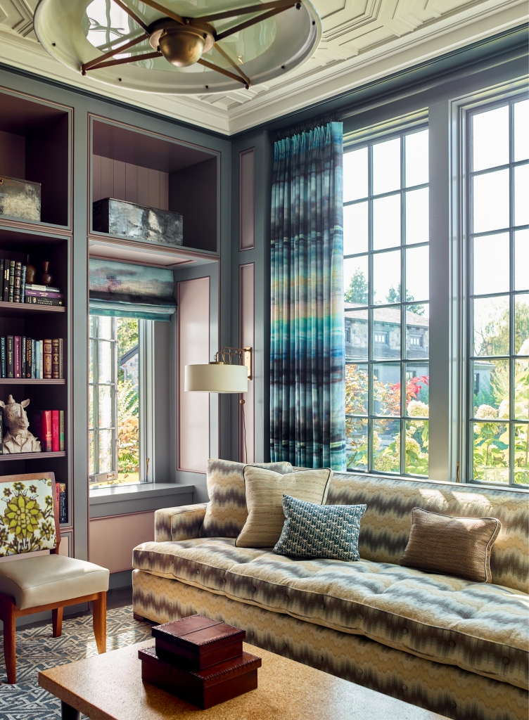 Traditional living room with floor to ceiling windows