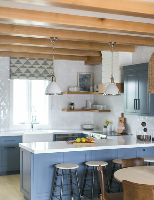 Blue and White Cottage Kitchen with Beamed Ceiling