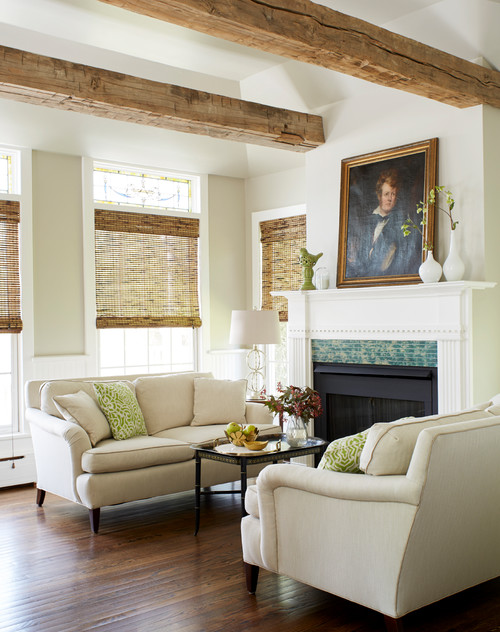 Large Portrait over Fireplace in Living Room
