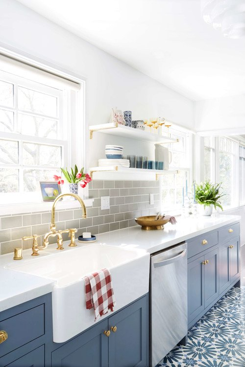 Blue-gray cabinets in cottage kitchen