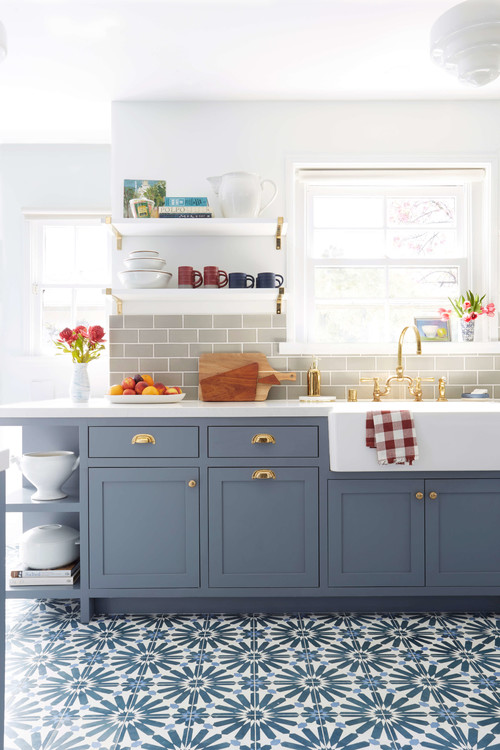 Blue and White Patterned Floor in Colorful Kitchen