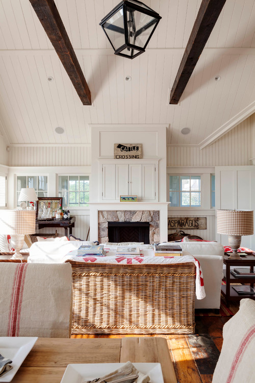 White Family Room with Red Accents
