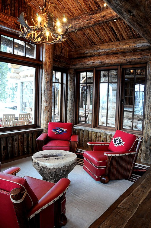 Cabin Style Sitting Room with Red Leather Chairs