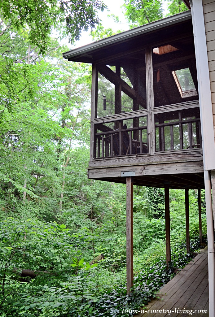 Screened porch overlooking wooded ravine