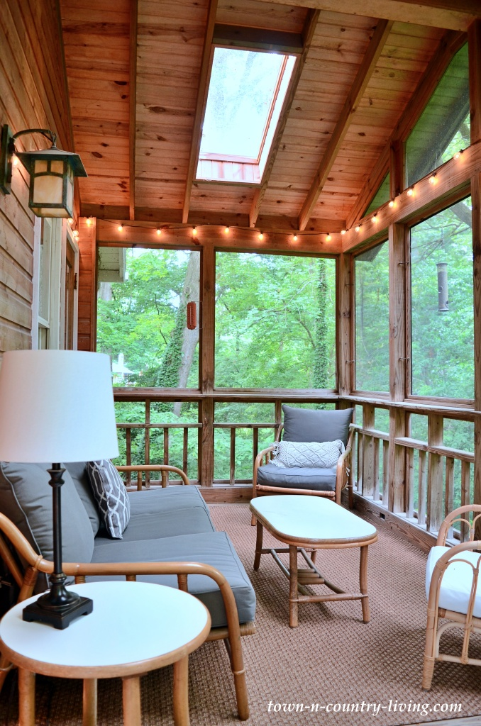 Screened Porch with Rattan Furniture