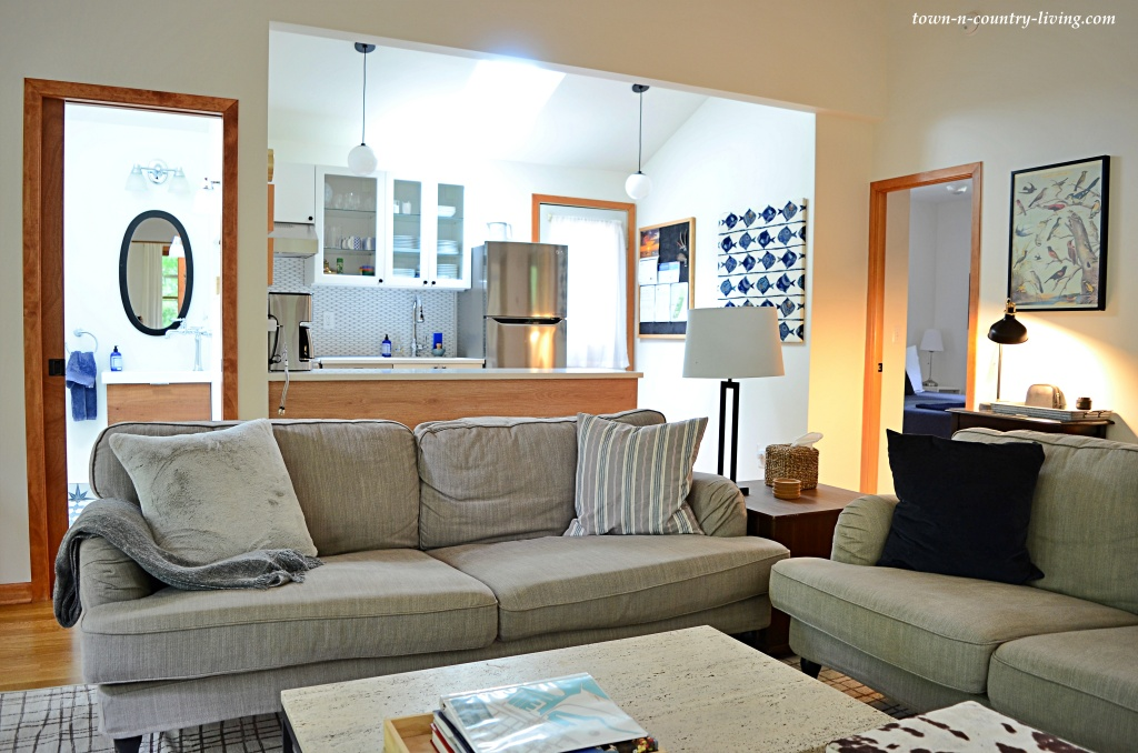 Open concept living in a tiny house Airbnb