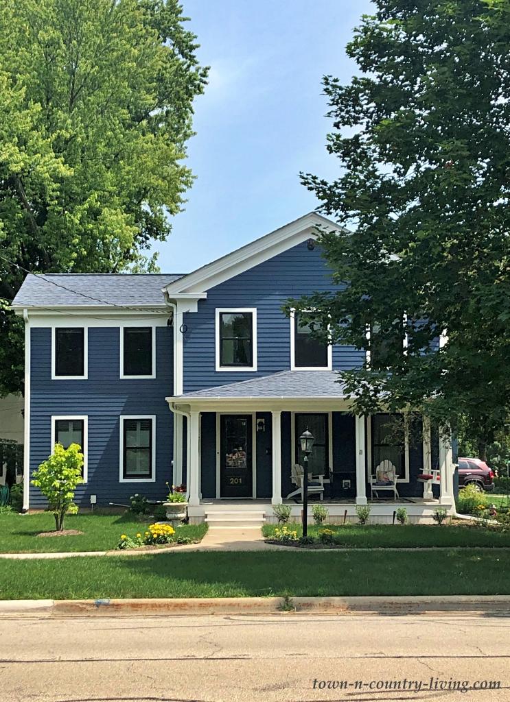 Dark Blue Farmhouse with Big Porch