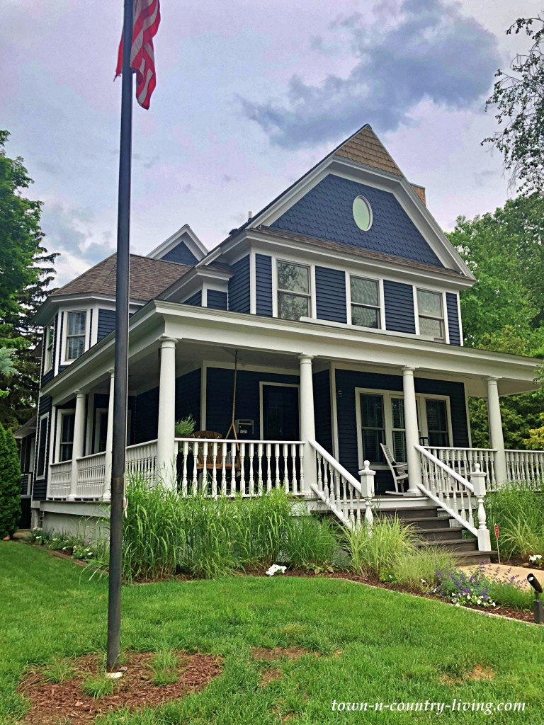 Large Dark Blue Historic Home with Full Porch