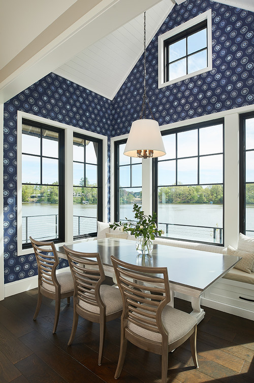 Dining Room with Navy  Blue Wallpaper