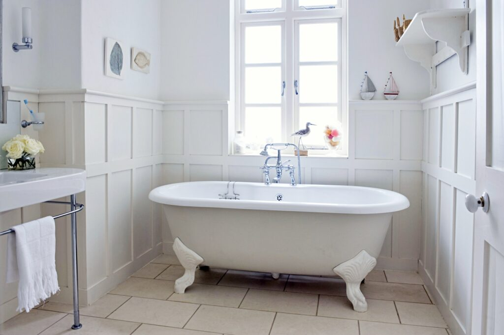 White Clawfoot Tub in Old English Home