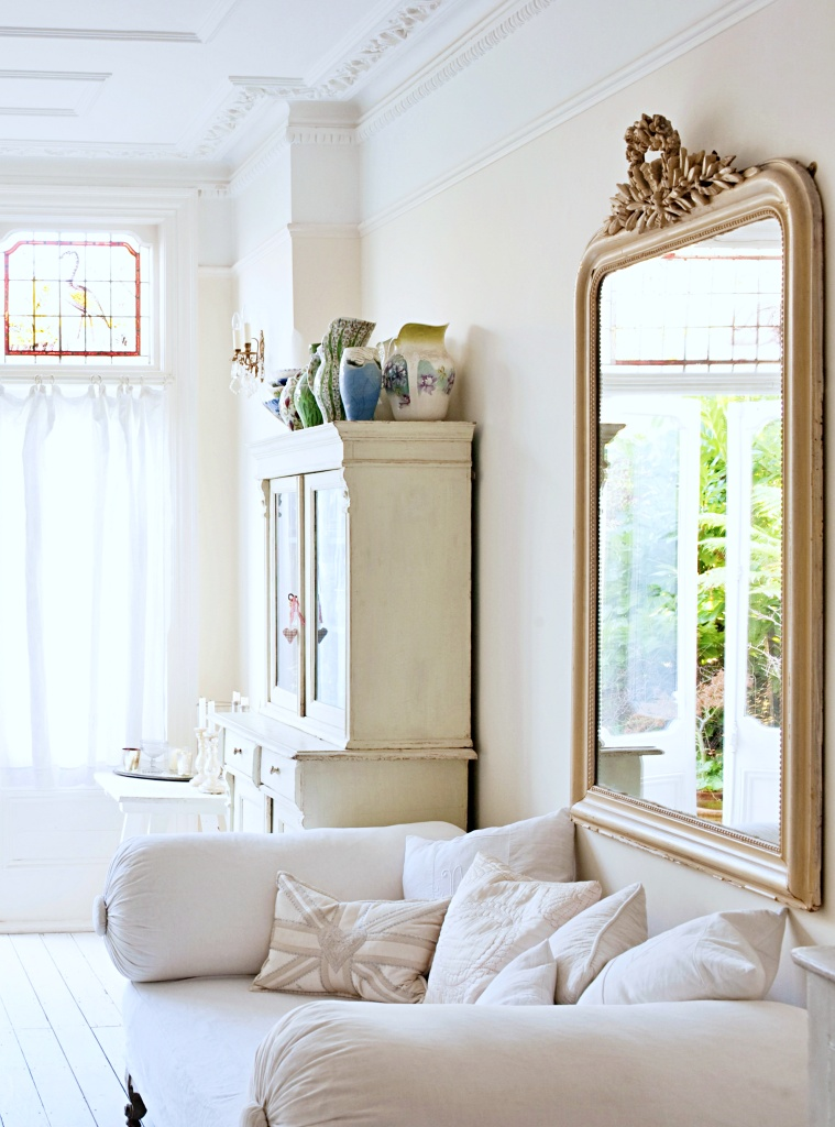 Shabby Chic Living Room with Antique Mirror