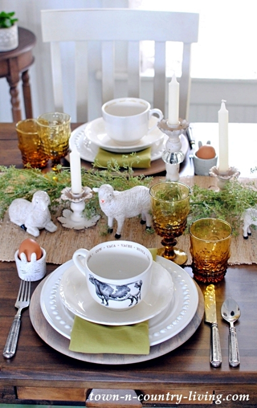 Brunch Table Setting with Sheep Figurines
