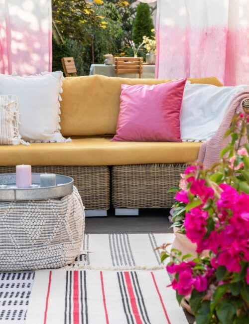 Outdoor Terrace with Pink Pillows