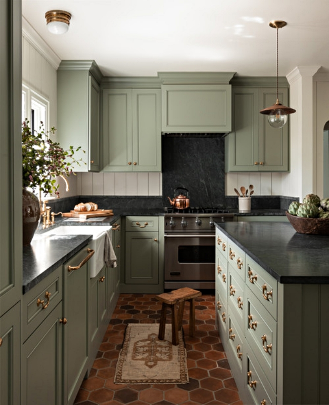 Traditional Kitchen with Gray-Green Shaker Cabinets