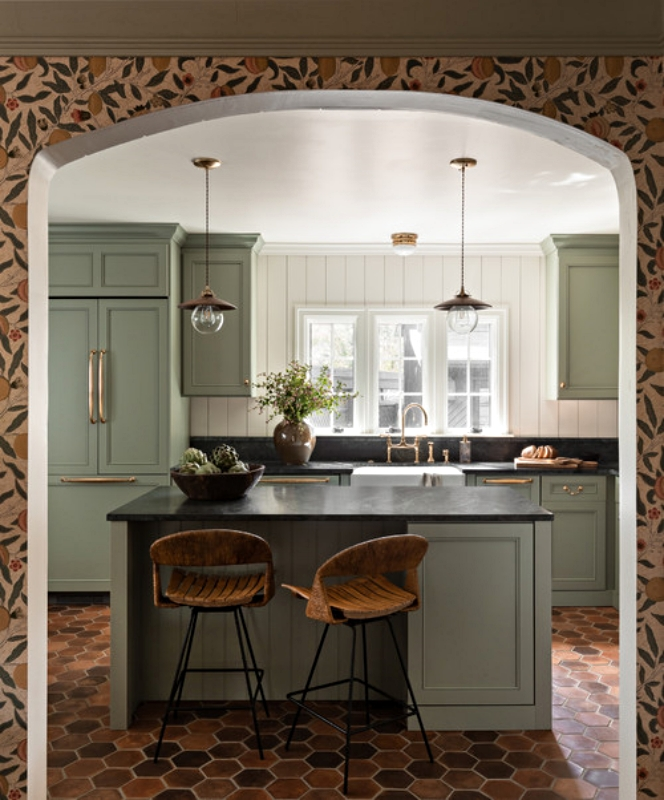 Arched Doorway into Traditional Kitchen