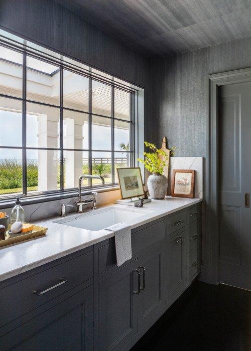 Dark Gray Kitchen with Ocean View