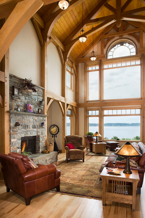 Grand Lakefront Living Room