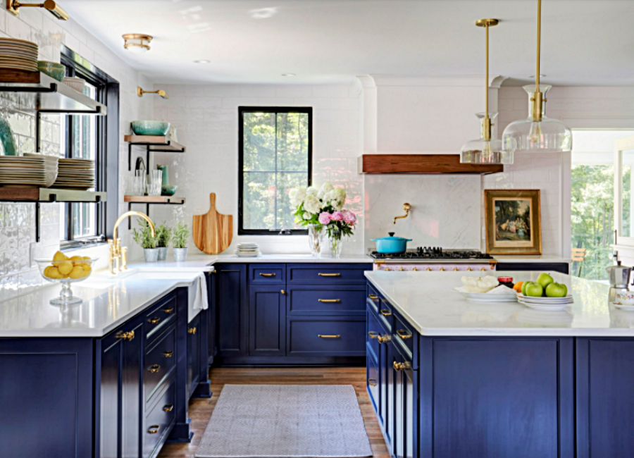 Navy Blue Cabinets in Farmhouse Kitchen