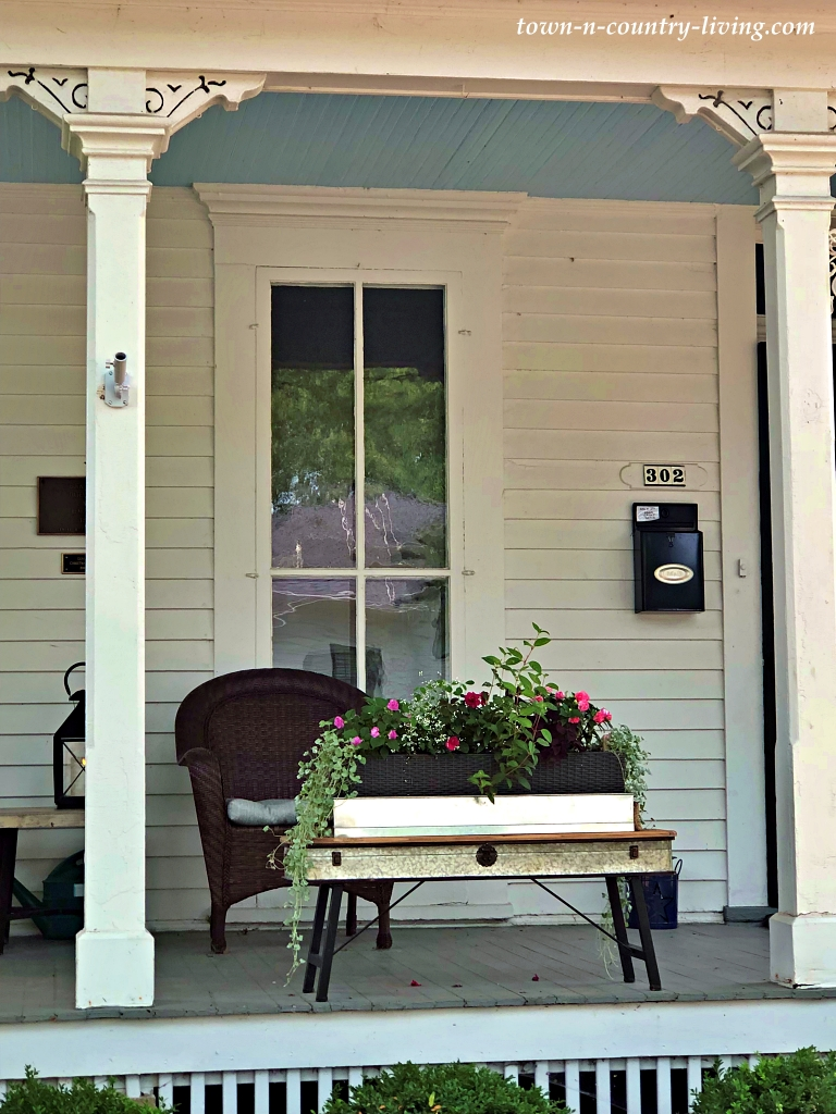 Haint Blue Ceiling on Front Porch of Historic Home