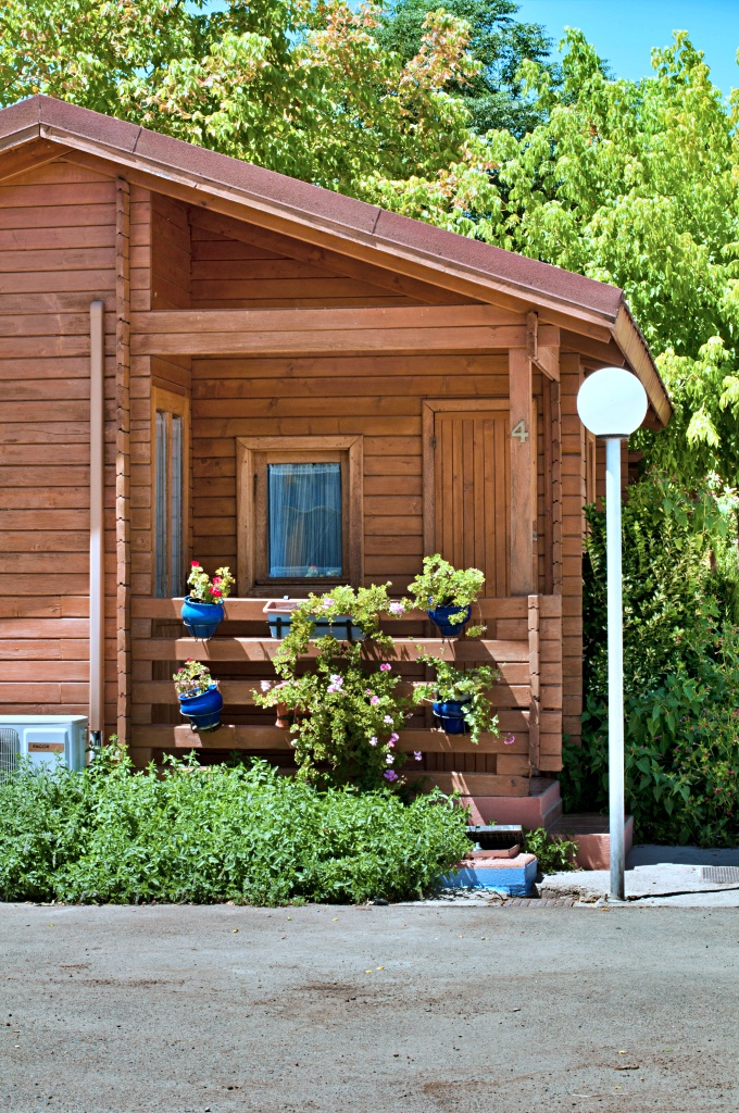 Wooden Bungalow with Street Light