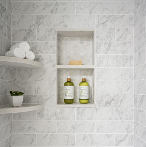 Built-in Shelves in Walk-In Tiled Shower