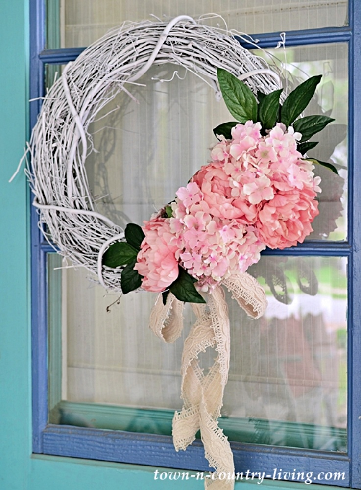 White Grapevine Wreath with Faux Pink Hydrangeas