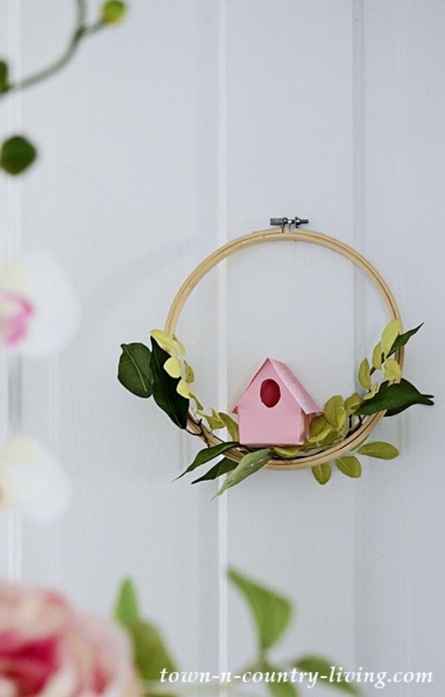 Paper Birdhouse Embroidery Hoop Wreath