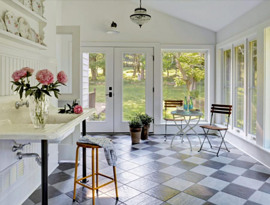 Vintage Sun Room with Checkerboard Floor